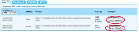 Screenshot highlighting Cancel schedule button