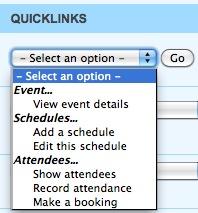 Quicklinks dropdown
